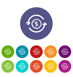 circulation money icons set color vector image