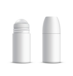 Closed and opened roll-on deodorant or vector