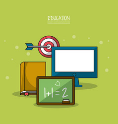 colorful poster of education with blackboard in vector image