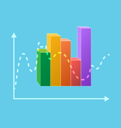 colorful statistical chart isolated ups and downs vector image