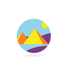 concept design flat icon for travel to pyramids vector image