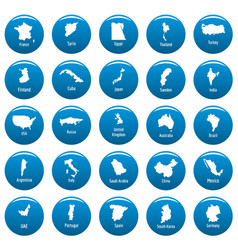 Country map icon set vetor blue vector