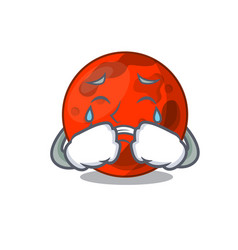 Crying mars planet mascot cartoon vector