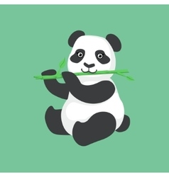 Cute Panda Character Eating Bamboo vector