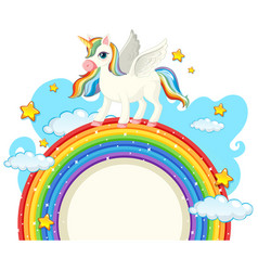 cute unicorn with blank banner vector image