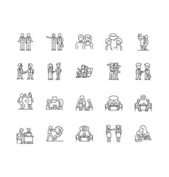 Dialogue line icons signs set outline vector
