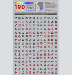Diamond is a set of 190 business icons vector