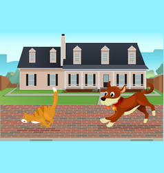 Dog chasing cat vector