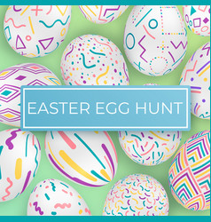 easter egg hunt template with ornate eggs vector image