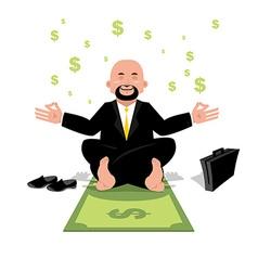 Financial yoga Businessman meditating on money Man vector image