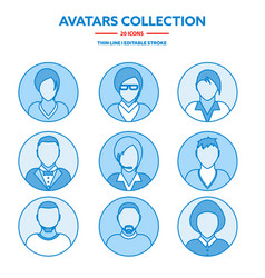 flat modern minimal line avatar icons business vector image
