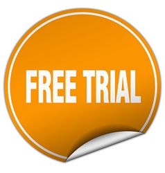Free trial round orange sticker isolated on white vector