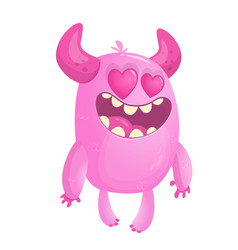 funny cute monster cupid st valentines day vector image
