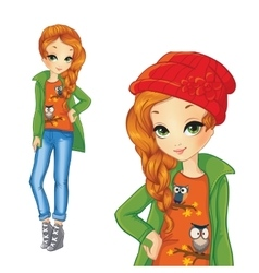 Girl In Green Jacket And Red Hat vector