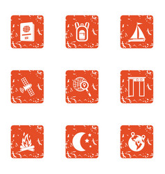 Gps satellite icons set grunge style vector