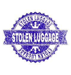 Grunge textured stolen luggage stamp seal vector