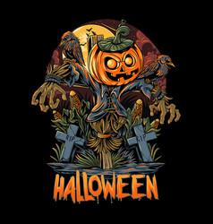 Halloween scarecrow and pumpkins artwork vector