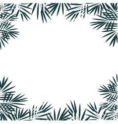 Hand drawn blue background tropical palm leaves vector