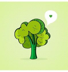 Hand drawn green tree vector image