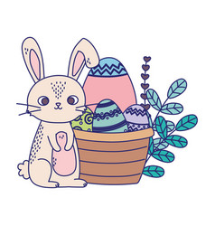happy easter day rabbit eggs flowers leaves vector image