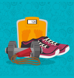 Healthy lifestyle fitness equipment vector