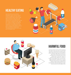 healthy unhealthy lifestyles isometric banners vector image