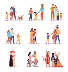 Heterosexual families different ethnicity vector