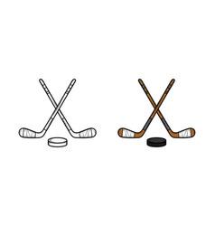 hockey hand drawn sketch and color vector image