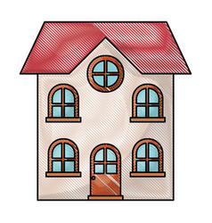 home of two floors in colored crayon silhouette vector image