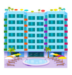 Hotels buildings tourist travelers places vacation vector