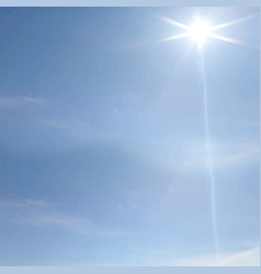 Image blue sky clouds and sun rays vector