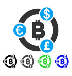 International bitcoin collaboration flat icon vector