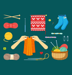 knitting set textile handicrafts with red and vector image