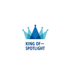 Layered blue king crown with spotlight logo sign vector