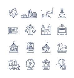luna park amusement line icons vector image