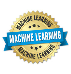 machine learning round isolated gold badge vector image