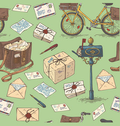 mail delivery seamless pattern vector image