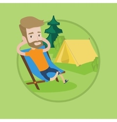 Man sitting in folding chair in the camp vector