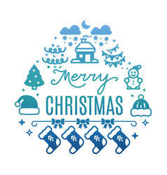 merry christmas colorful banner with festive icons vector image