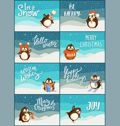 merry christmas snow snowfall weather penguins set vector image