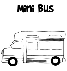 Mini bus hand draw vector image