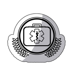 Monochrome sticker with firts aid kit with symbol vector
