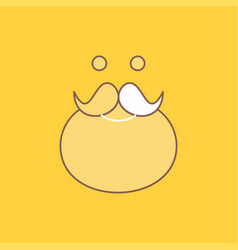 Moustache hipster movember santa beared flat line vector