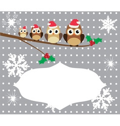 owl family card winter vector image
