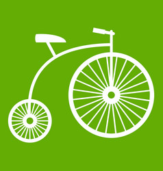 penny-farthing icon green vector image