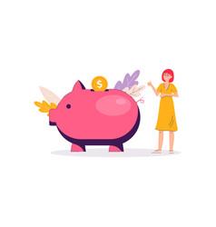 piggy bank money savings banner - cartoon woman vector image