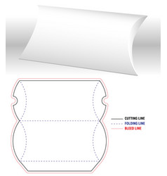 Pillow box blank 3d template and open real size vector