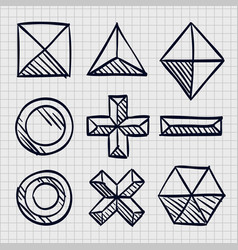 polygonal sketch shapes vector image