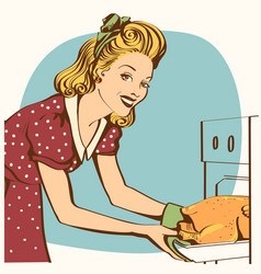 Portrait of young beautiful housewife in red vector