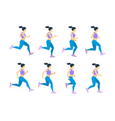Running girl young female athlete in tracksuit vector